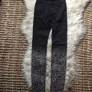 Hudson girls' 14 black leopard ombre black jeans